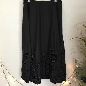Chico's Black Silk Floral Embroidered long Skirt